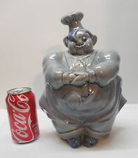 Blue Pottery Chef Cookie Jar Pot Belly Plump Red Wing Vintage