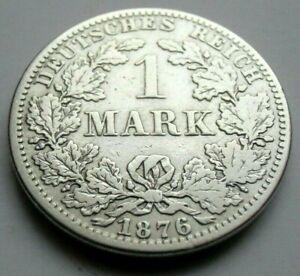 (709) RARE GERMANY EMPIRE 1 MARK SILVER COIN 1876 A -  0.900 SILVER
