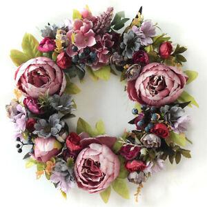 Artificial Peony Wreath Flower Wreath 35cm Door Wreath Spring Round Decor`