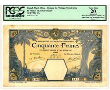 French West Africa … P-9Bc … 50 Francs …1929,Dakar … *VF* PCGS 20.