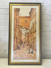 Watercolor Painting of Rome Street Scene Signed A. Bottazzi