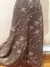 JACQUI-E - Long A-LINE EMBROIDERY Beaded SKIRT Linen/Rayon TAUPE COTTON LACE