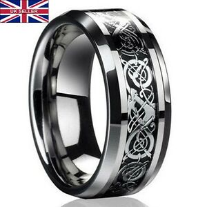 UK Men's Silver Celtic Dragon Titanium Stainless Steel Wedding Rings Men Rings
