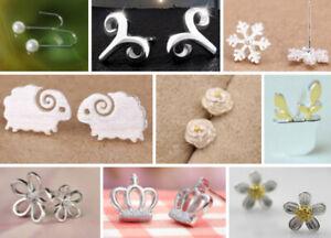 12 Pair Earrings Ear Stud Silver Plated or Silver 925 Sheep Crown Dancer Heart