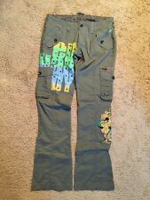 ED HARDY OLIVE GREEN COTTON CARGO PANTS...SIZE 28