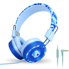 RockPapa 3.5mm On Ear Foldable Kids Childs Boys Teens Headphones Earphones Blue