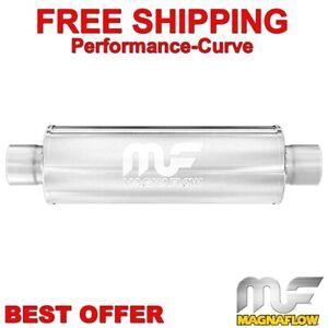 """2.5"""" C/C - 4"""" Round 14"""" Body MagnaFlow Performance Exahust Muffler SS 10416"""
