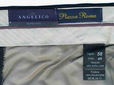 PANTALONI UOMO NUOVI - Pura Lana, Nero, Taglia 58 4R (con Cartellino) Angelico