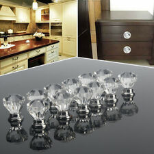 12pcs Crystal Acrylic Pull Handle Knob Drawer Cupboard For Cabinet Wardrobe
