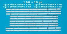 Kit 10 barre strip led Lg 60UJ63-UHD-A B C D 60UJ634 60UJ630  60LJ594 60LJ 60UJ