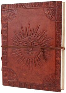 Handmade Brown Leather Journal Diary Writing Notebook With Embossed Burning Sun