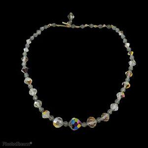 "Single strand gray brown crystal Aurora  Borealis choker necklace 15"""