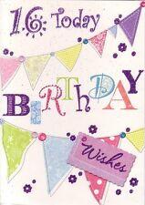 16th Birthday Card - Age 16 Girls - Sixteen Bunting