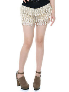 New Women Sexy Slim Apricot Beige Golden Tone Crochet Lace Stretch Mini Shorts