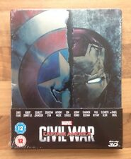 "CAPTAIN AMERICA ""CIVIL WAR"" MARVEL ZAVVI STEELBOOK 2D & 3D BLU-RAY NEW & SEALED"
