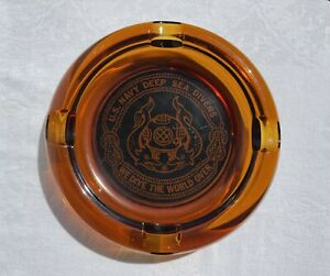 """Vintage U.S. NAVY DEEP SEA DIVERS Amber Glass Cigar Pipe Ashtray Large Heavy 8"""""""