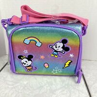 Disney Mickey Minnie Lunch Bag Tote Rainbow Glitter Vinyl Applique NEW with Tags