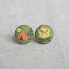 Camping Fabric Button Earrings