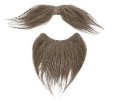 Brown Beard Goatee & Moustache Facial Hair Set Victorian Gentleman Fancy Dress