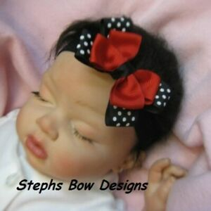 Black Red White dots Layered dainty hair Bow Headband 4 Preemie 2 Toddler