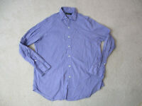 Ralph Lauren Polo Button Up Shirt Adult Large Purple Green Long Sleeve Mens *