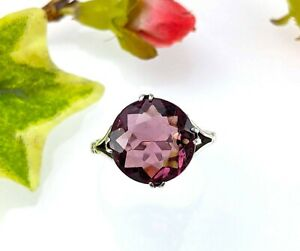 Vintage Sold Silver Purple Glass Ring, Size O