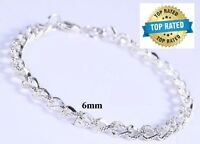 Mother's Day 925 Sterling Silver Linked Chain Women's Elegant Bracelet D174