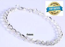925 Sterling Silver Linked Chain Women's Men's Bracelet Bangle +Gift Pouch D174
