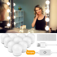 10 LED Bulb Hollywood Style USB Lights Dimmable Makeup Dressing Mirror Lamp Kit