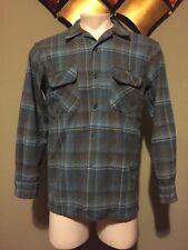 Vintage Pendleton Shadow Plaid Loop Collar wool board shirt. Medium. Rockabilly