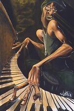 LOUNGE SMOKE PRINT BY DAVID GARIBALDI ethnic piano music keyboard poster 24x36