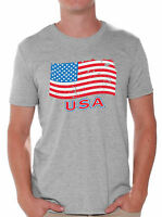 USA Flag Men's T shirt Tops Distressed USA Flag Independence Day