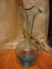 Blenko Blue Art Glass Vase with applied Amber Ring Ruffled Rim 7 in tall Vintage