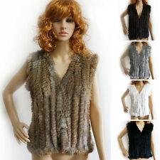 Hand Made Women Real Rabbit Fur Vest Knit Thin Fur V Collar Gilet UK Hot Use