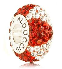 Alducchi Ruby Red - White/Clear wave Crystal .925 Silver European Charm Bead