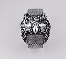 Silver owl bracelet carved textured hoot OWL bird plastic hinged bangle cuff