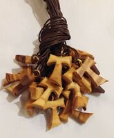 Tau mod A lotti da 30 a 150pz in legno di ulivo,croce di San Francesco d'Assisi