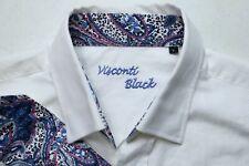 NWT Visconti Black Mens Large White Woven Long Sleeve Dress Shirt