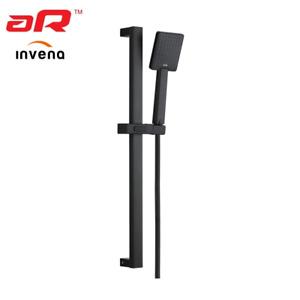 Invena PATRAS BLACK Shower Set Adjustable Riser Rail Bar Bracket Shower Head