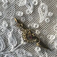 Antique Gold Crescent Brooch Hallmarked 9 Carat 9ct Art Nouveau Seed Pearl Ruby