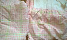 Pottery Barn Kids Twin Fitted Sheet & Dust Ruffle Pink Yellow White Plaid Usa