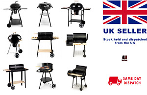 Portable Charcoal BBQ Barbecue Grill Foldable Outdoor with Smoker and Shelfs