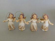 4 Engel zum Hängen ca. 8 cm hoch, aus Keramik Weihnachtsbaumschmuck Engel