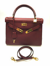 Authentic HERMES 28cm Rouge H Togo Leather Gold H/W KELLY Retourne Bag
