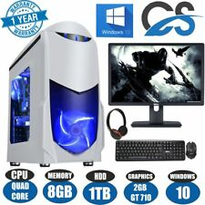 "ULTRA FAST Quad Core Gaming PC Tower Bundle 8GB 1TB HDD 19"" SCREEN"