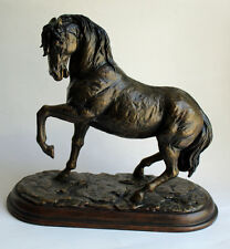 Stallion Horse Sculpture Signed Metal Bronze Style Dramatic Art Statue