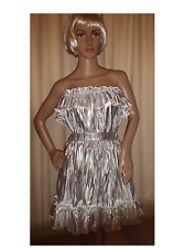Sissy Adult Baby Silver Pleat Dress