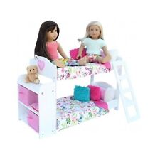 "American Girl Doll Bedroom Set 18"" 20 Pc Bunk Bed Bookshelf Bedding Pajama Toys"