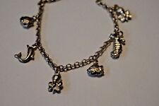 "Vintage Sterling Silver nautical Theme Charm Bracelet 6.5"""