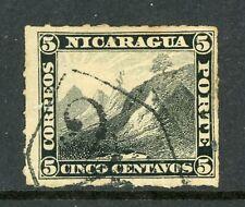 Nicaragua 1877 5¢ Black Momotombo Roulette w/Rivas  Cancel L321